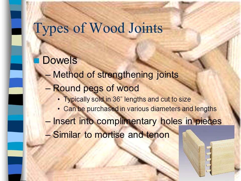 Types of Wood Joints Dowels Method of strengthening joints