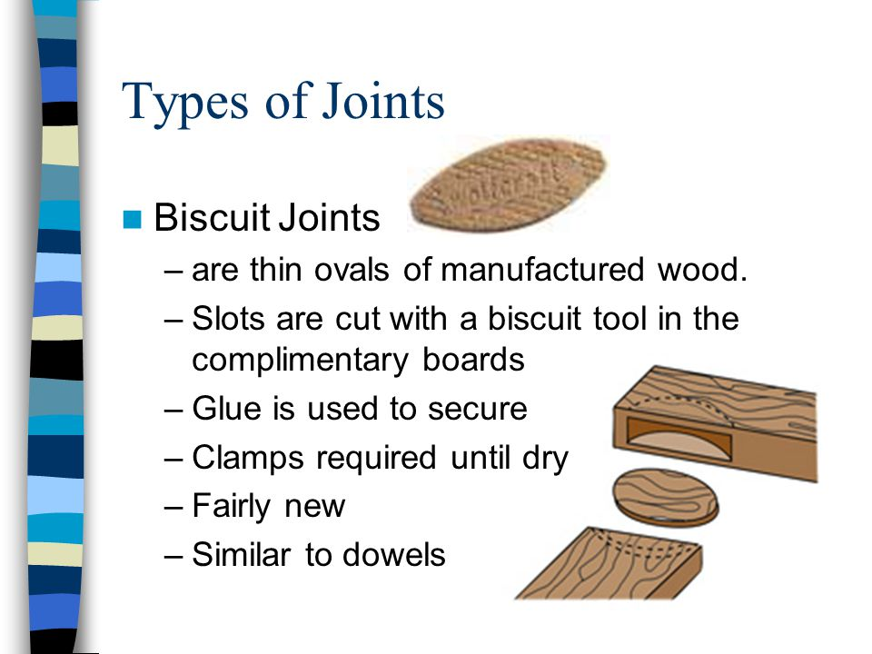 Types of Joints Biscuit Joints are thin ovals of manufactured wood.