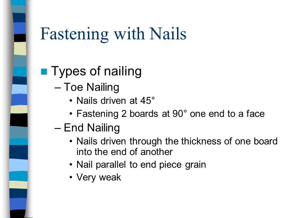 Fastening with Nails Types of nailing Toe Nailing End Nailing
