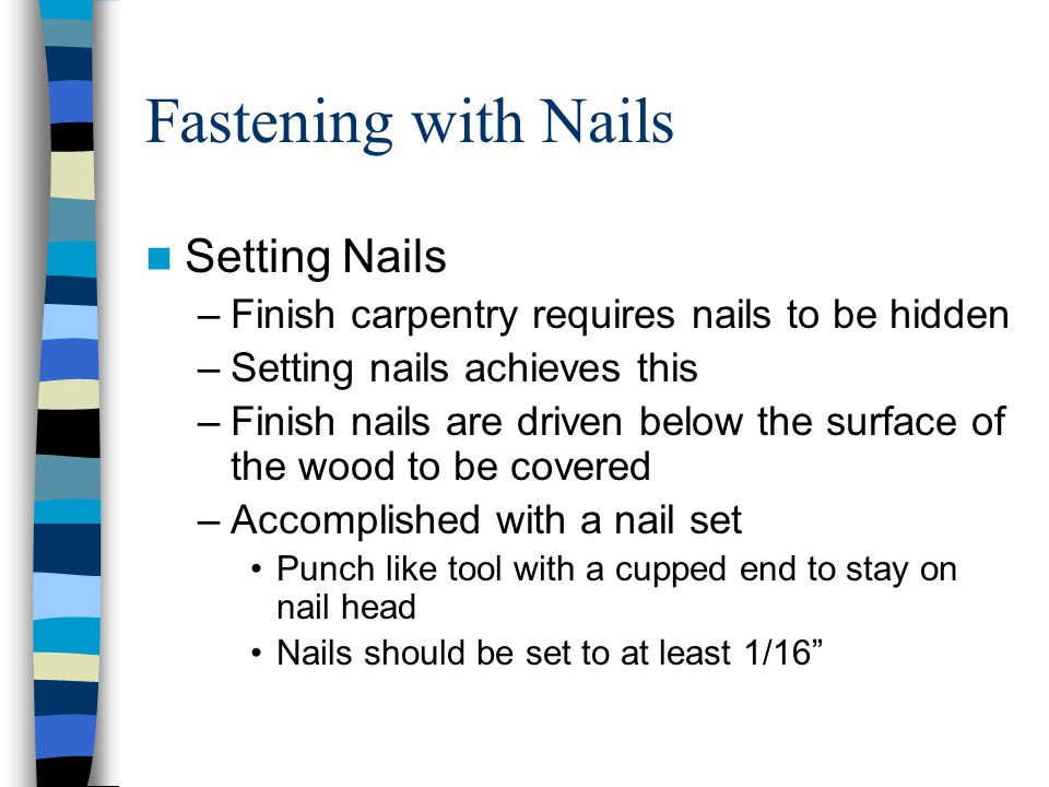 Fastening with Nails Setting Nails