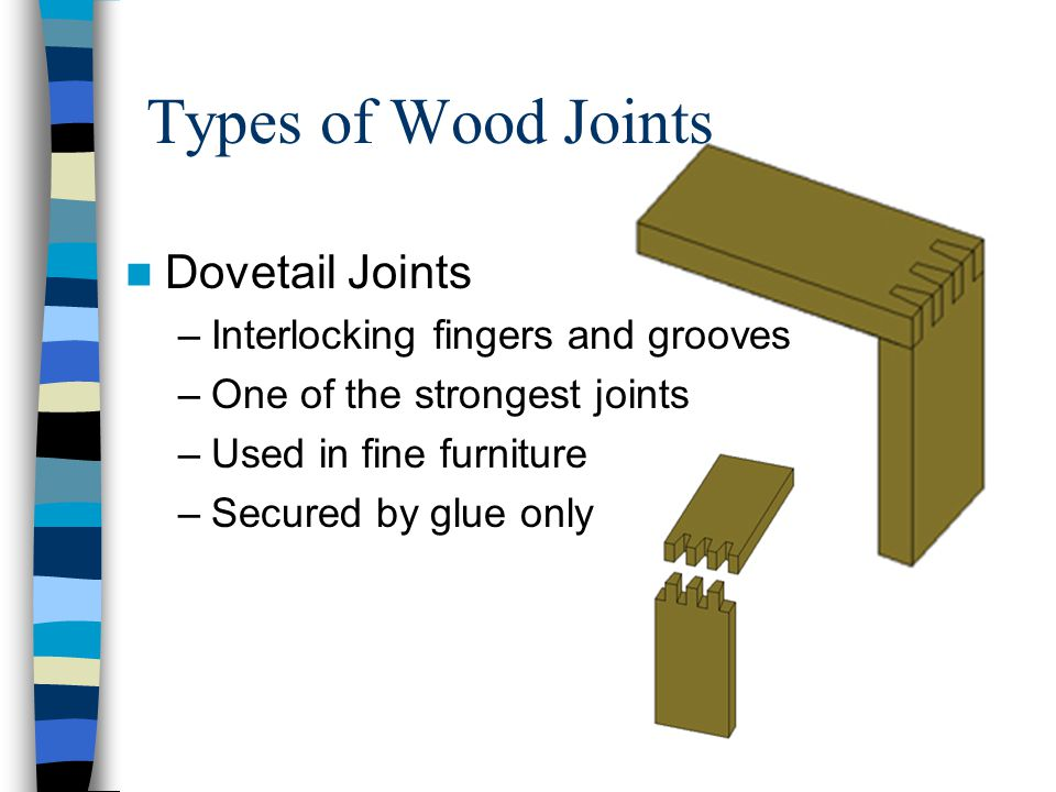 Types of Wood Joints Dovetail Joints Interlocking fingers and grooves