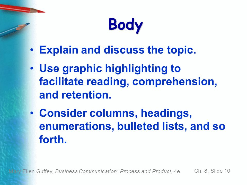 Body Explain and discuss the topic.