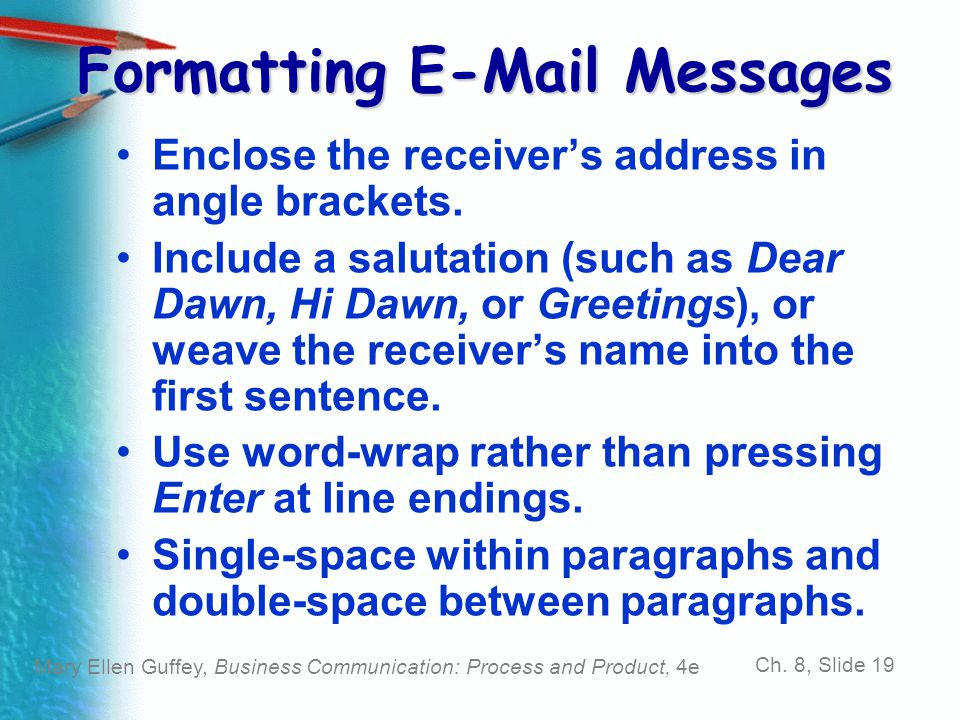 Formatting E-Mail Messages
