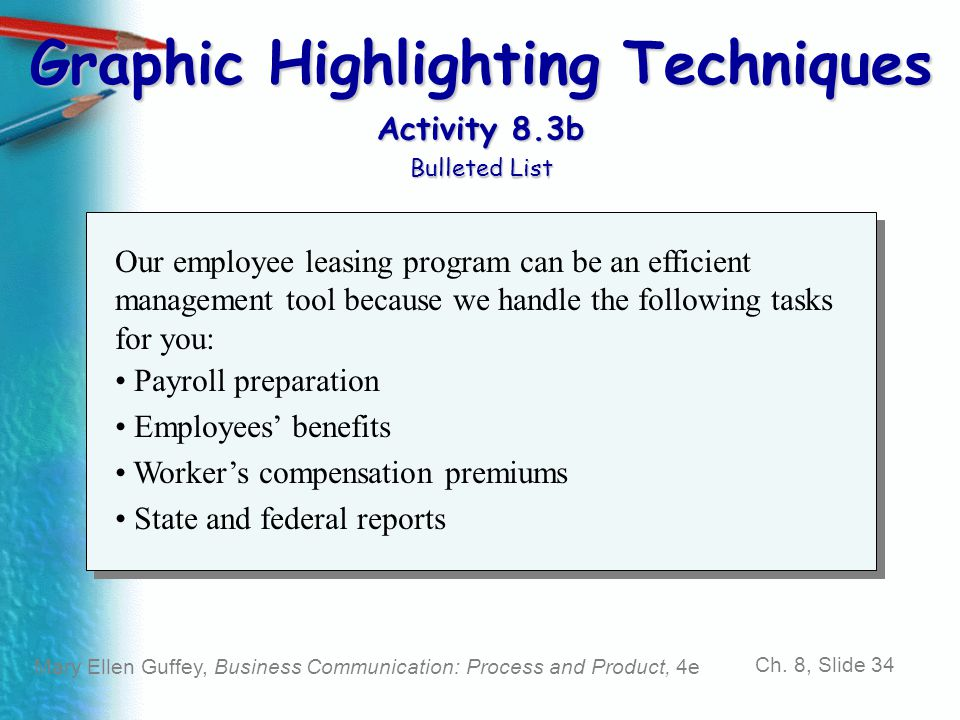 Graphic Highlighting Techniques Activity 8.3b Bulleted List