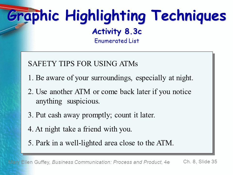 Graphic Highlighting Techniques Activity 8.3c Enumerated List