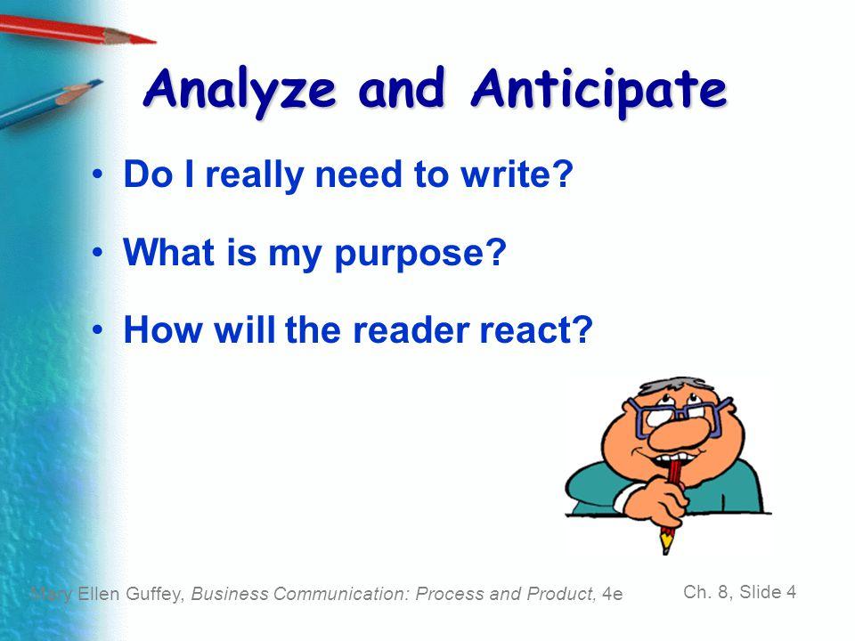 Analyze and Anticipate