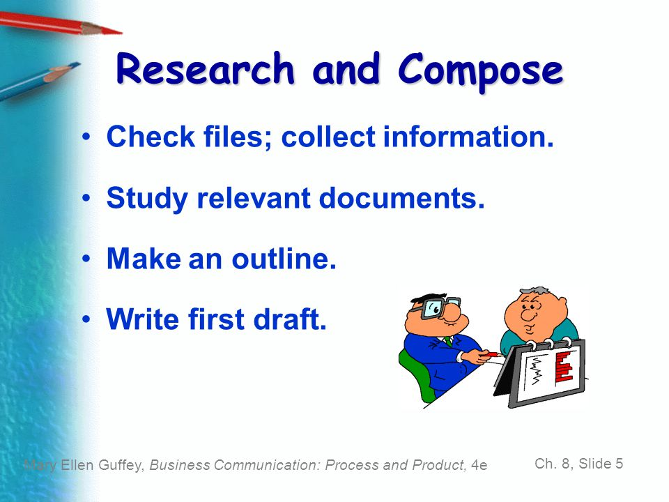 Research and Compose Check files; collect information.