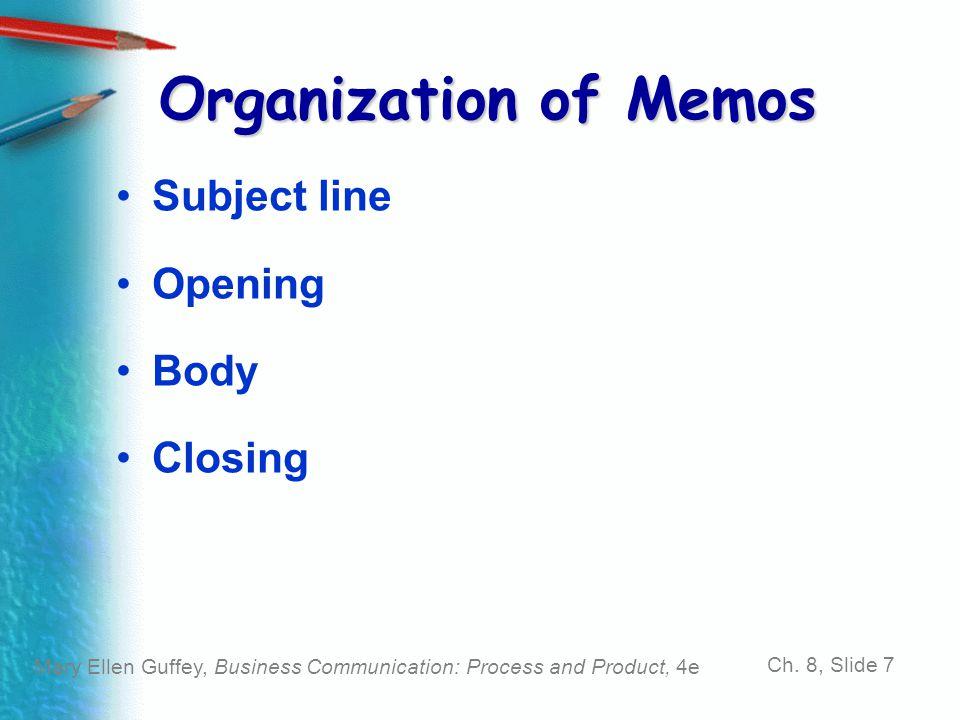 Organization of Memos Subject line Opening Body Closing