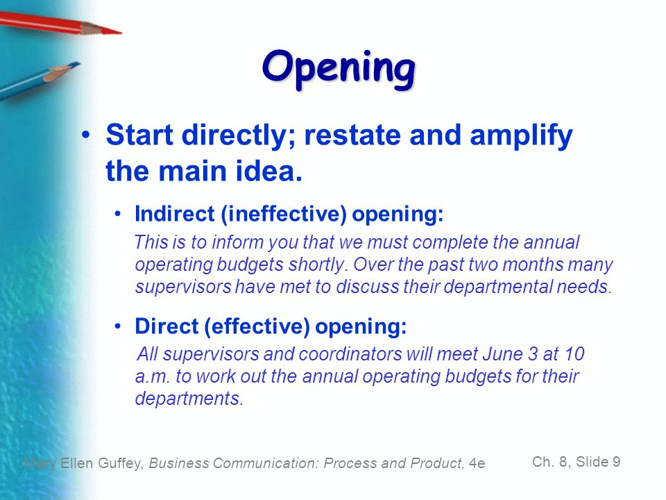 Opening Start directly; restate and amplify the main idea.