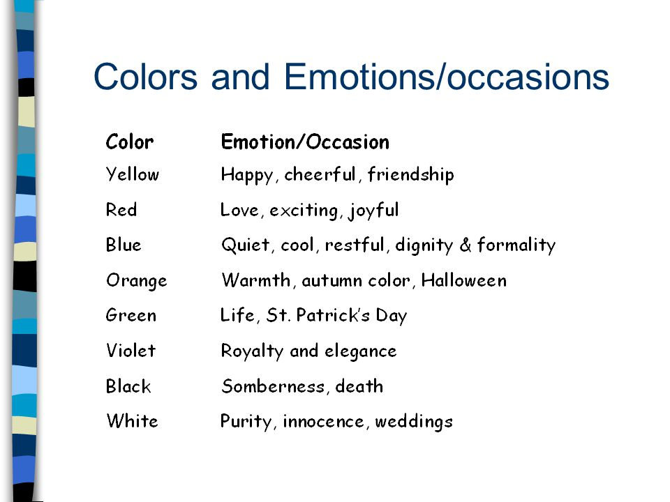 Colors and Emotions/occasions