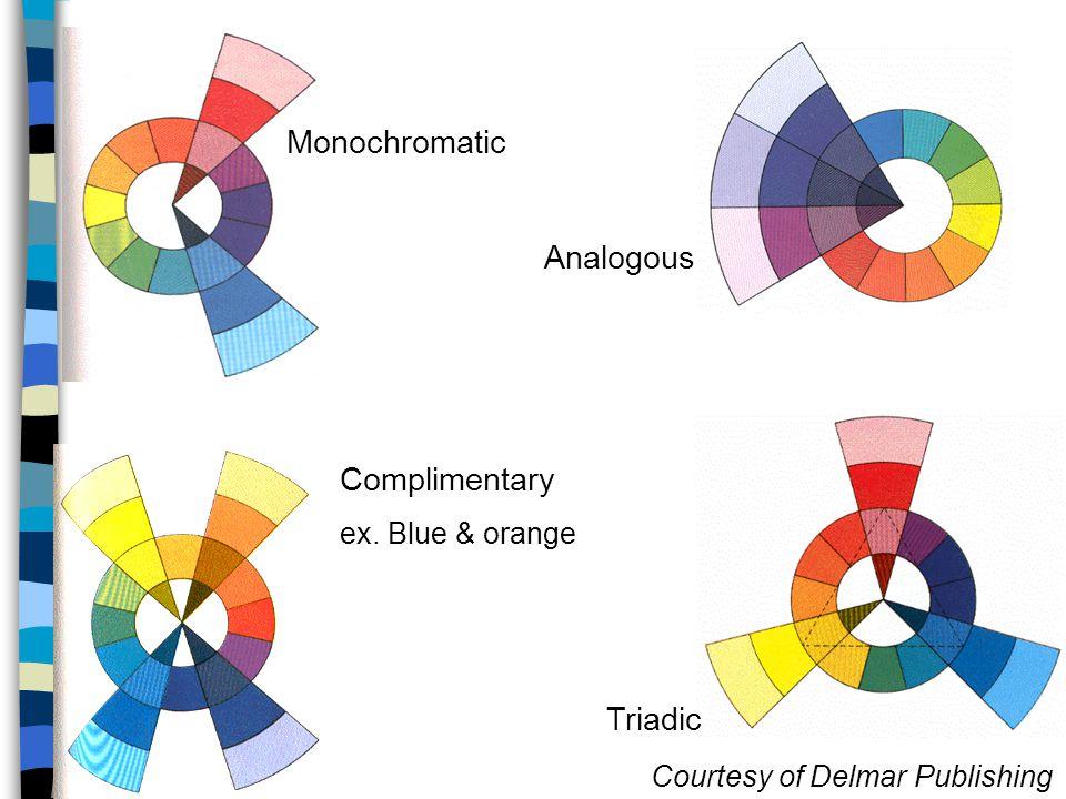 Monochromatic Analogous Complimentary Triadic ex. Blue & orange