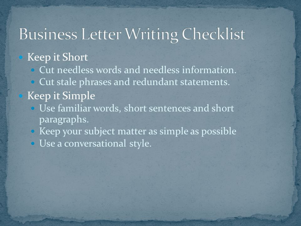 Business Letter Writing Checklist