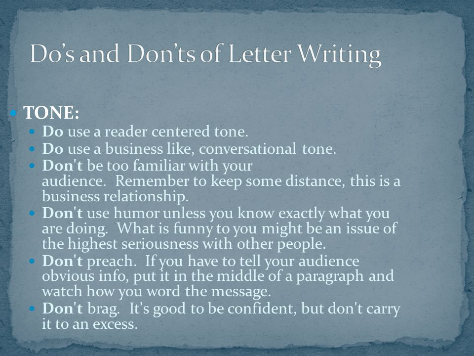 Do's and Don'ts of Letter Writing