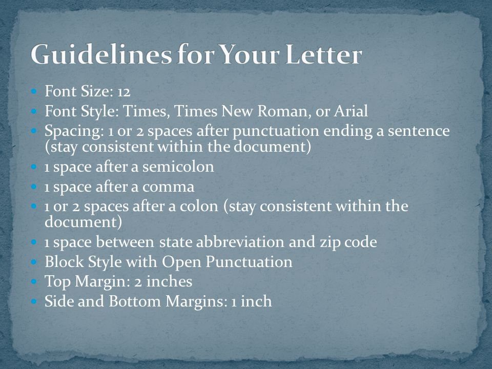 Guidelines for Your Letter