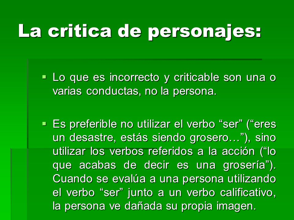 La critica de personajes: