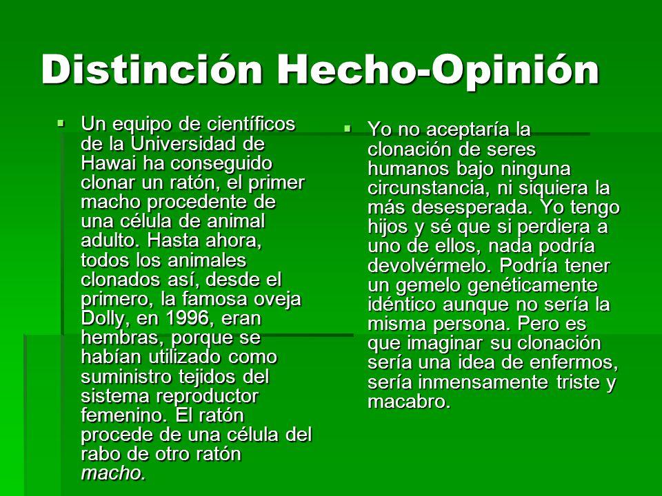 Distinción Hecho-Opinión