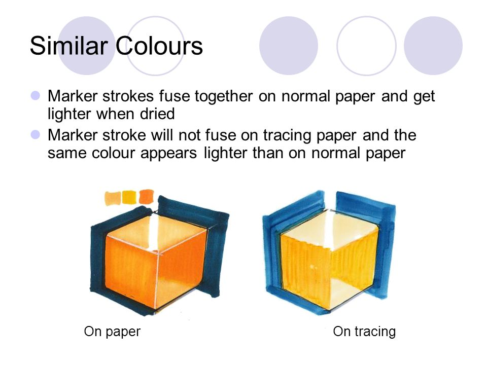 Similar Colours Marker strokes fuse together on normal paper and get lighter when dried.