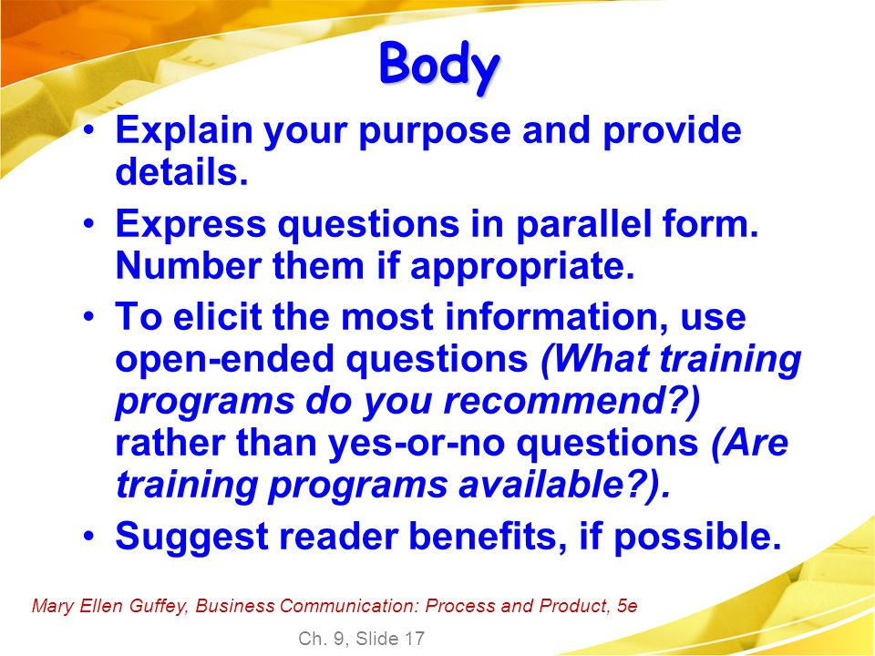 Body Explain your purpose and provide details.