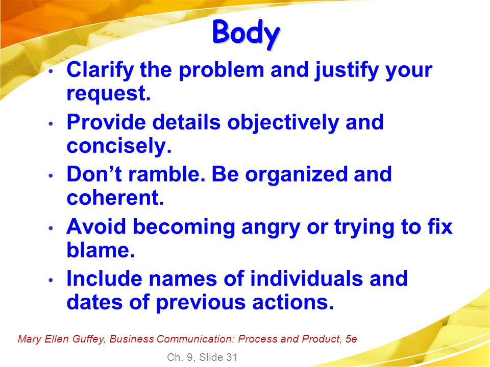 Body Clarify the problem and justify your request.