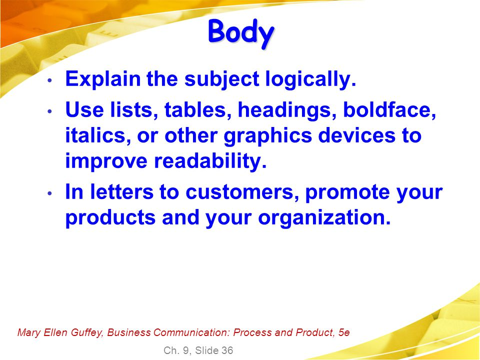 Body Explain the subject logically.