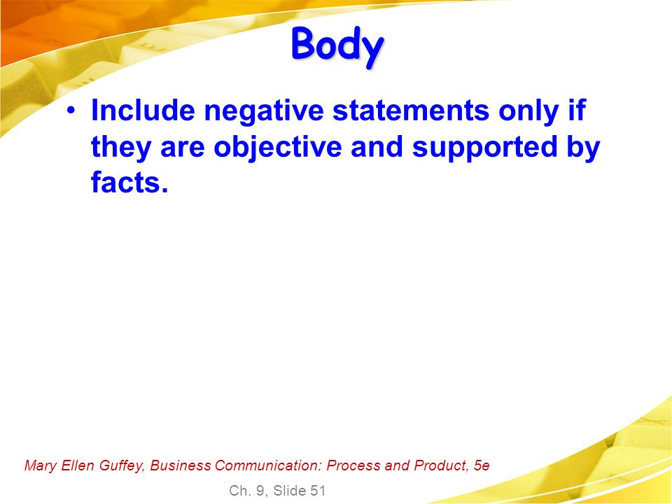 Body Include negative statements only if they are objective and supported by facts.