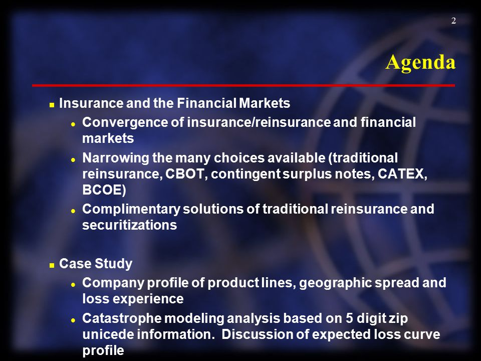 Agenda Insurance and the Financial Markets
