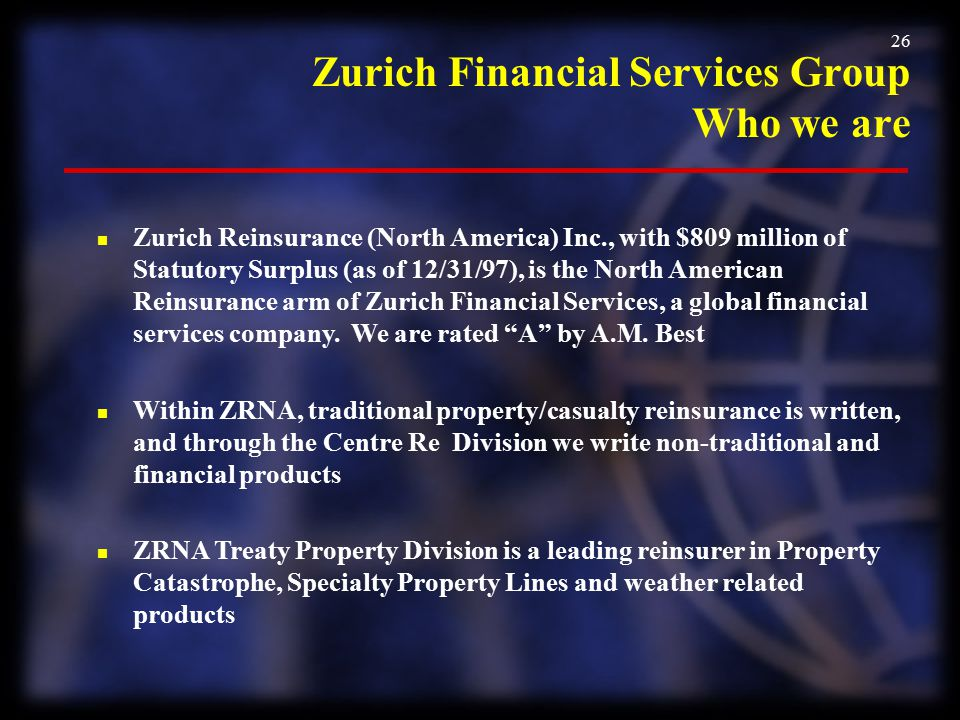 Zurich Financial Services Group Who we are