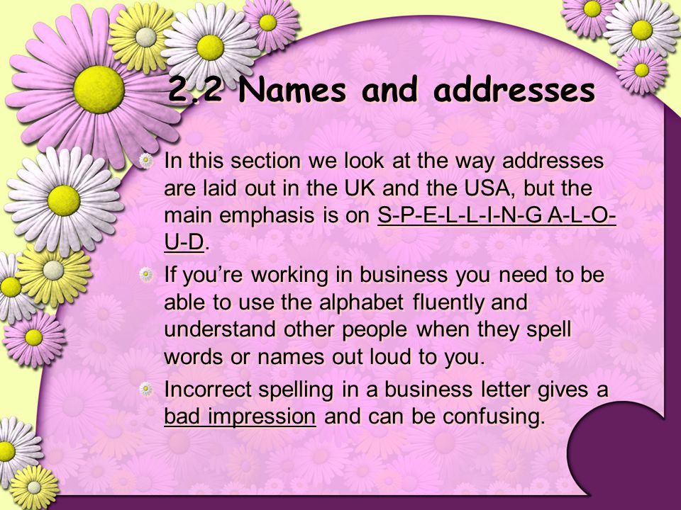 2.2 Names and addresses