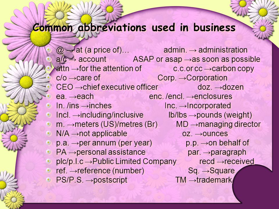 Common abbreviations used in business