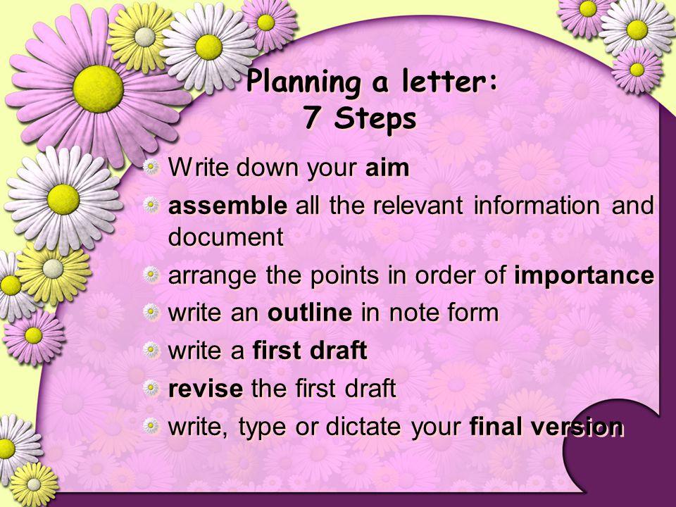 Planning a letter: 7 Steps