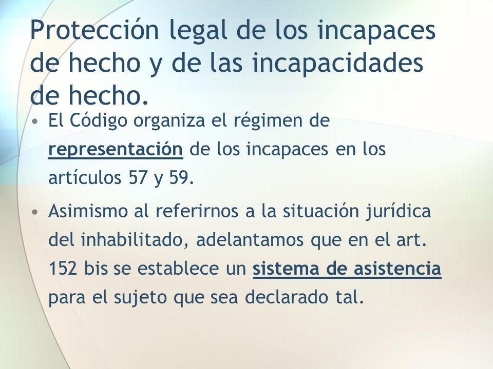 Protección legal de los incapaces de hecho y de las incapacidades de hecho.