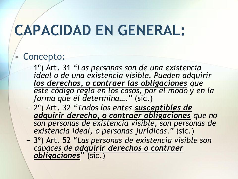 CAPACIDAD EN GENERAL: Concepto: