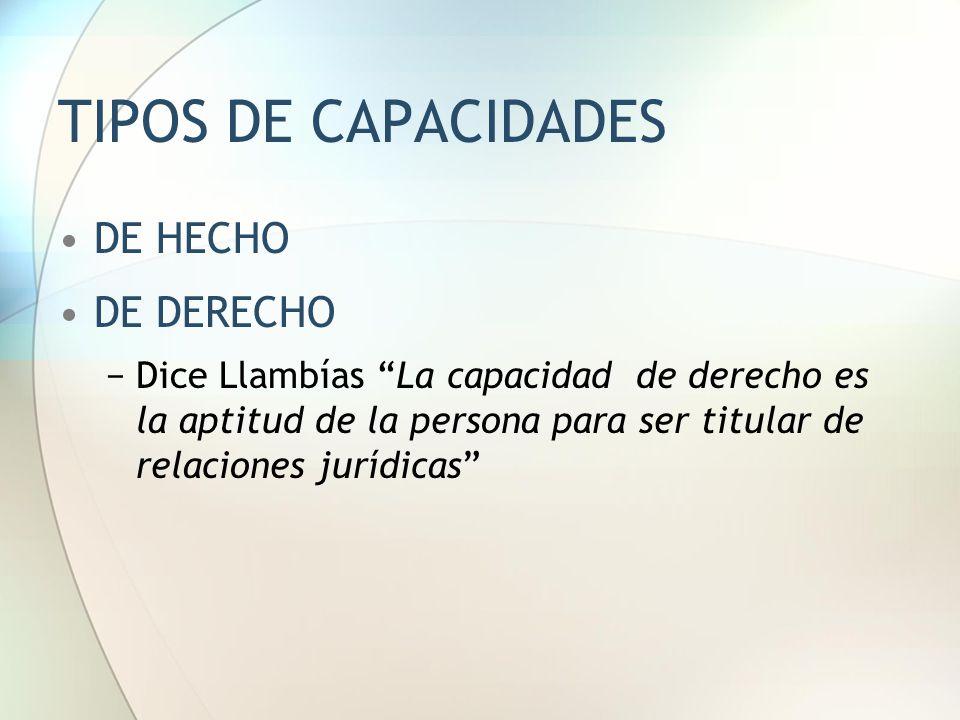 TIPOS DE CAPACIDADES DE HECHO DE DERECHO