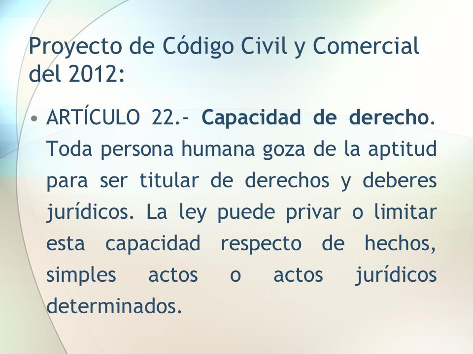 Proyecto de Código Civil y Comercial del 2012:
