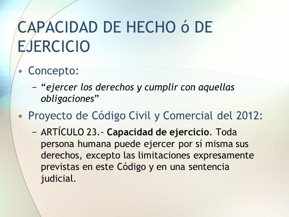 CAPACIDAD DE HECHO ó DE EJERCICIO