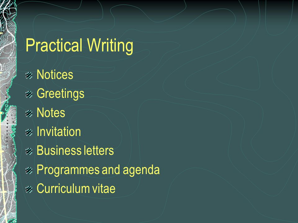 Practical Writing Notices Greetings Notes Invitation Business letters