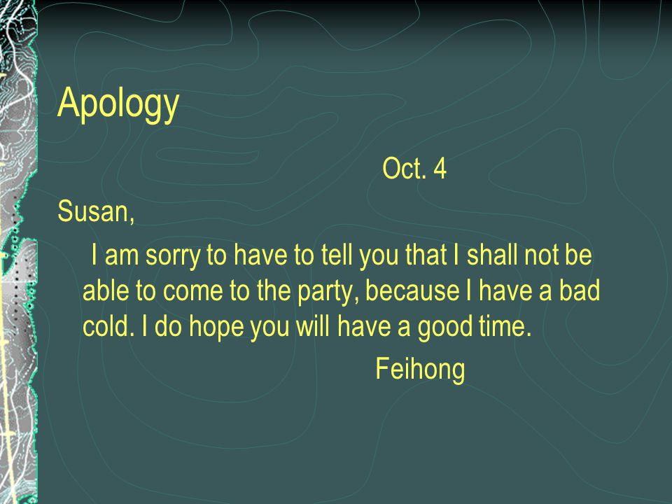 Apology Oct. 4. Susan,