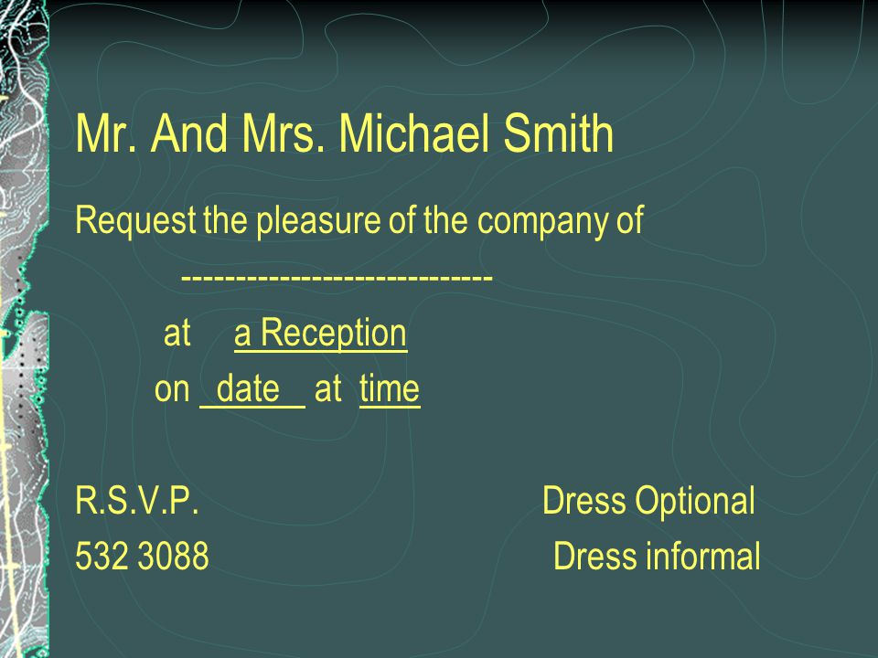 Mr. And Mrs. Michael Smith