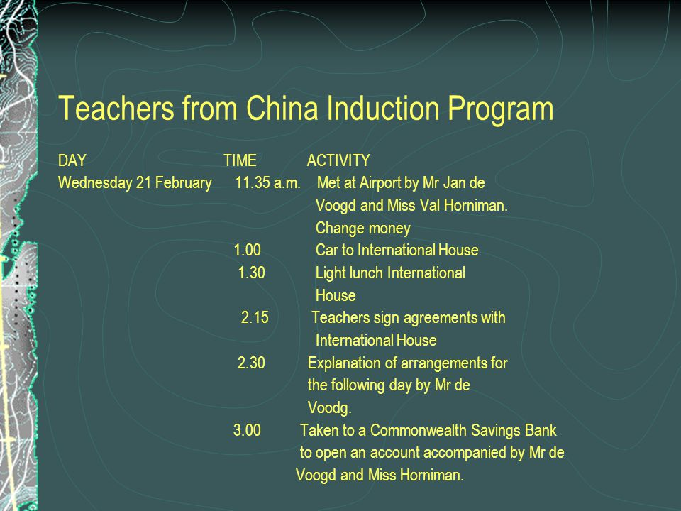 Teachers from China Induction Program