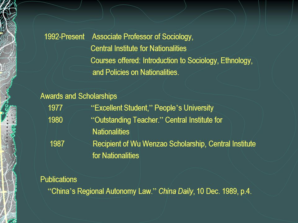 1992-Present Associate Professor of Sociology,