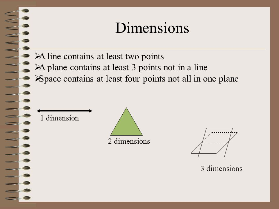 Dimensions A line contains at least two points