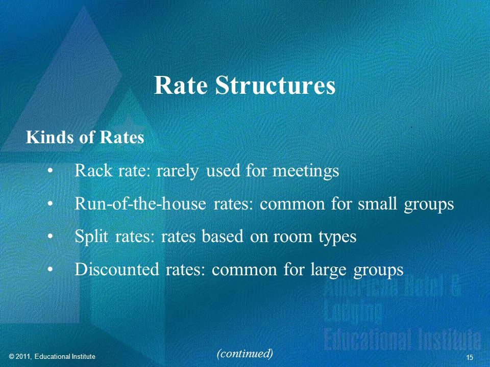 Rate Structures Factors in Determining Rate Structures Season