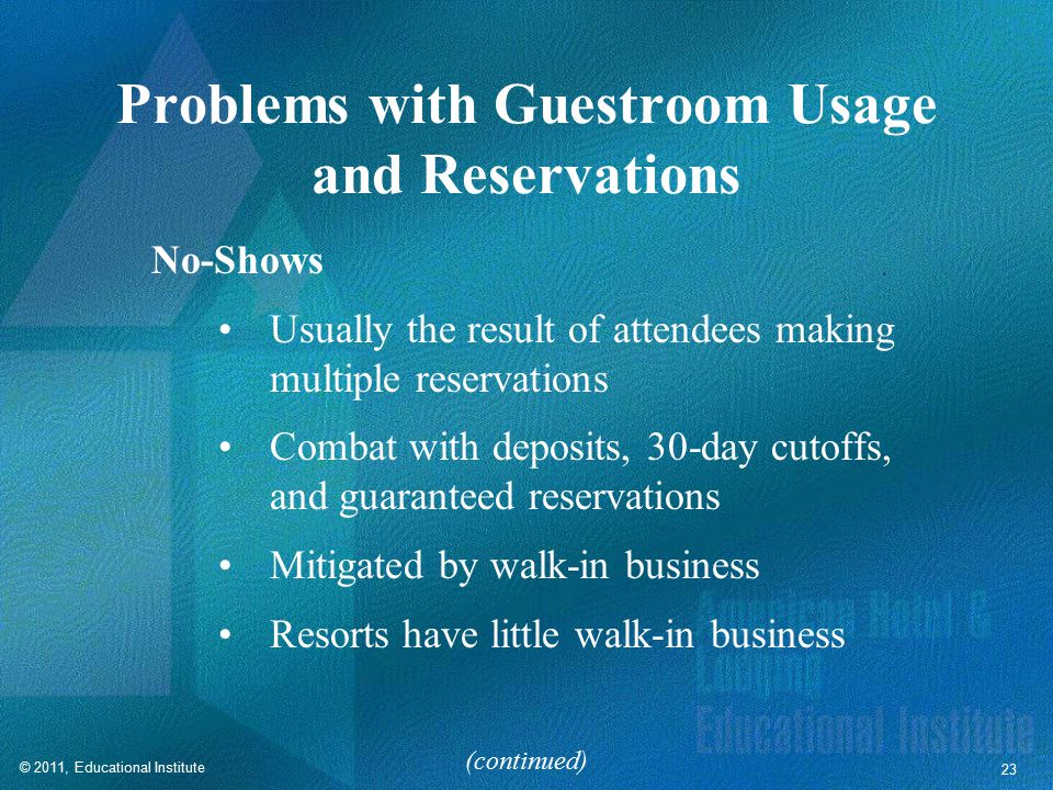 Problems with Guestroom Usage and Reservations