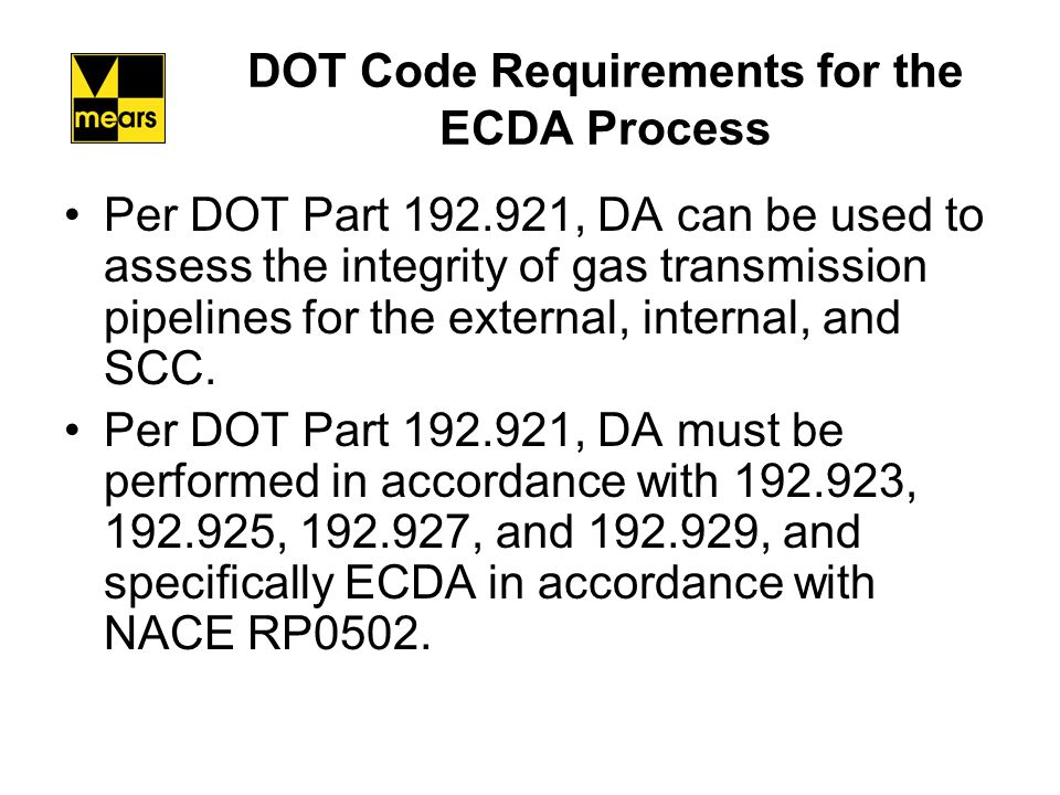 DOT Code Requirements for the ECDA Process