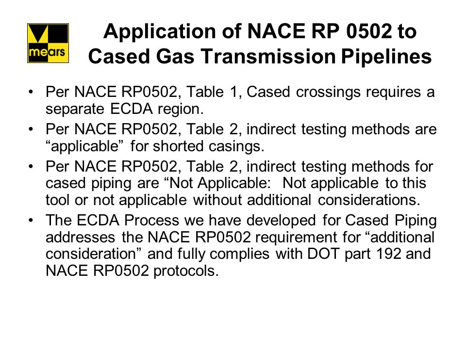 Application of NACE RP 0502 to Cased Gas Transmission Pipelines