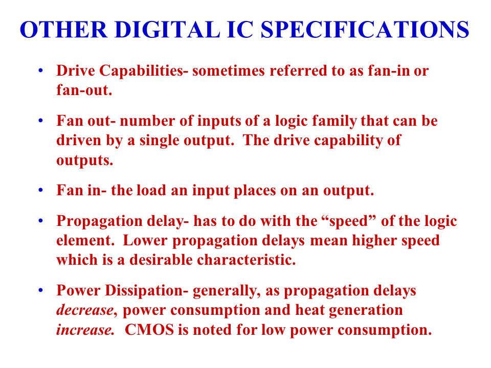 OTHER DIGITAL IC SPECIFICATIONS
