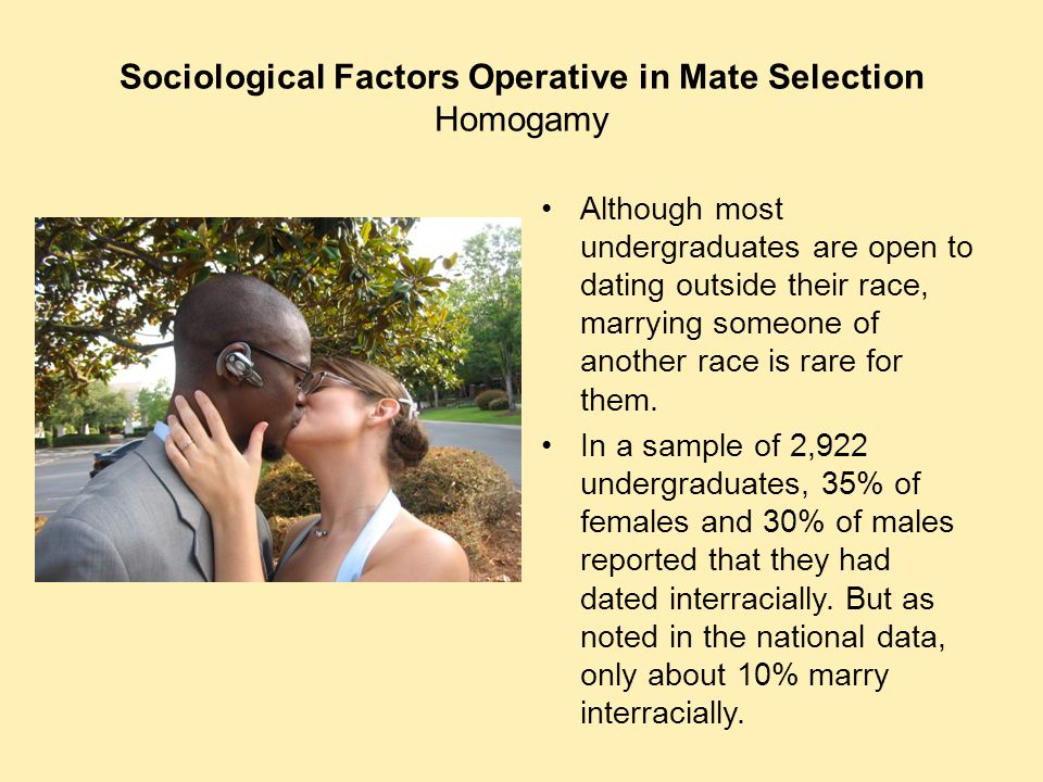 Sociological Factors Operative in Mate Selection Homogamy