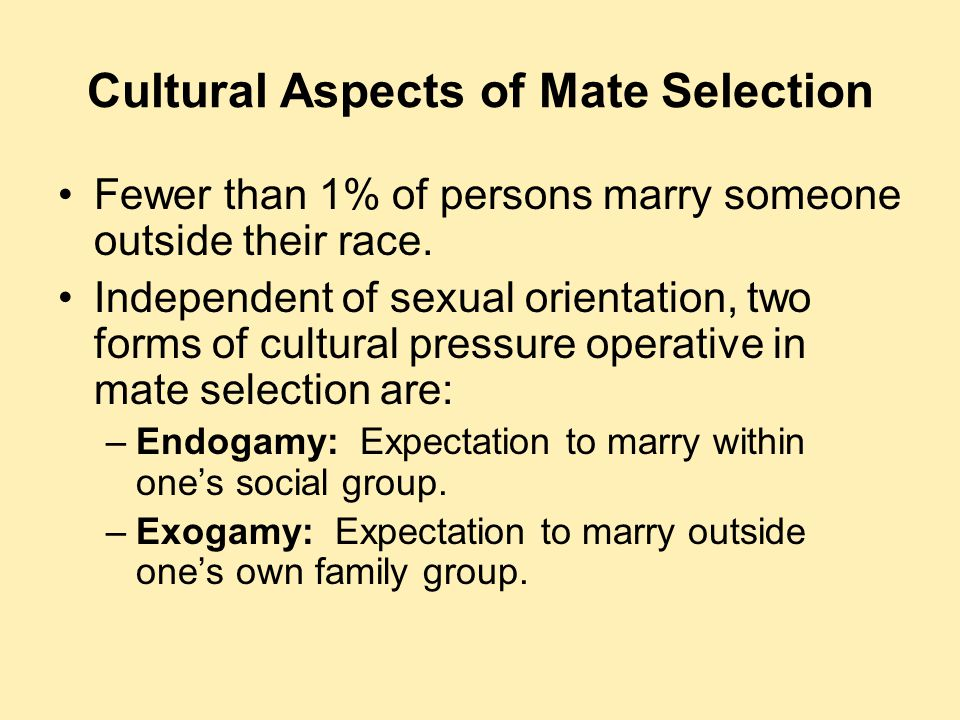 Cultural Aspects of Mate Selection