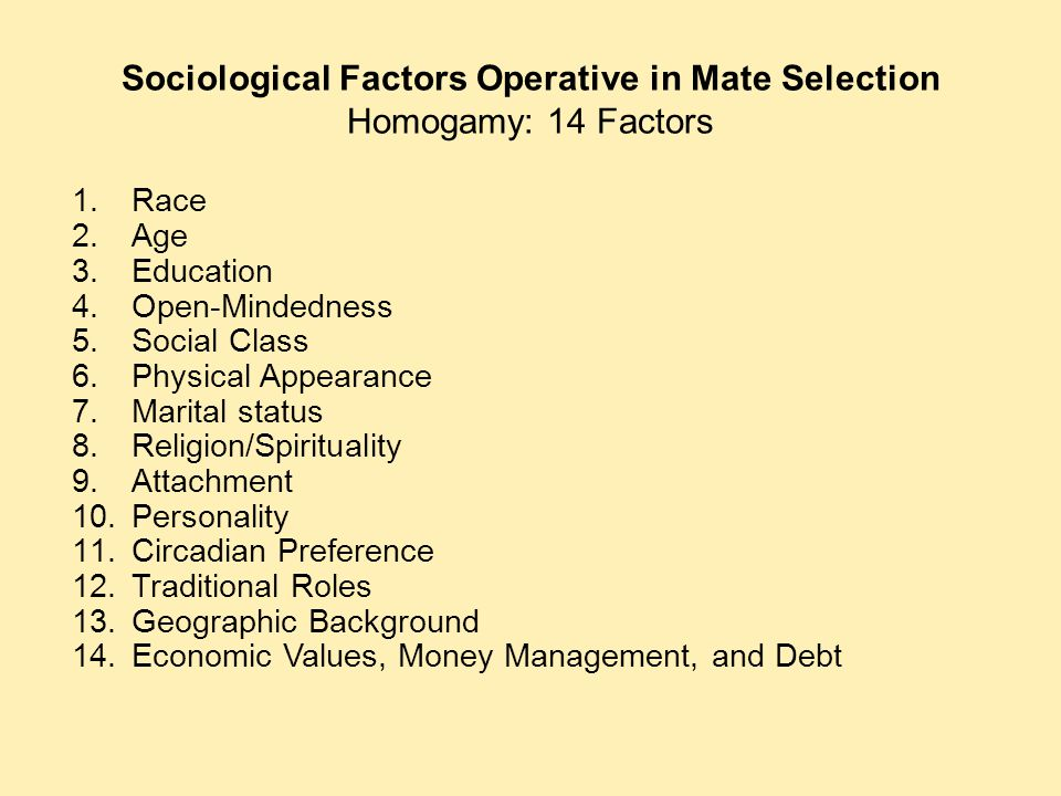 Sociological Factors Operative in Mate Selection Homogamy: 14 Factors