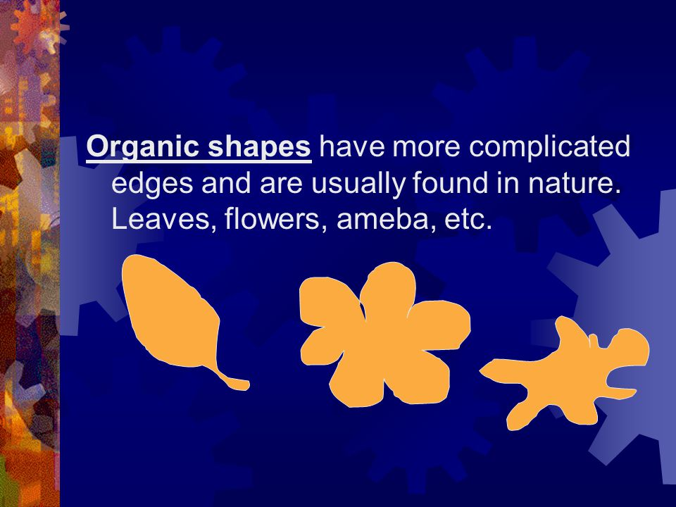 Organic shapes have more complicated edges and are usually found in nature.